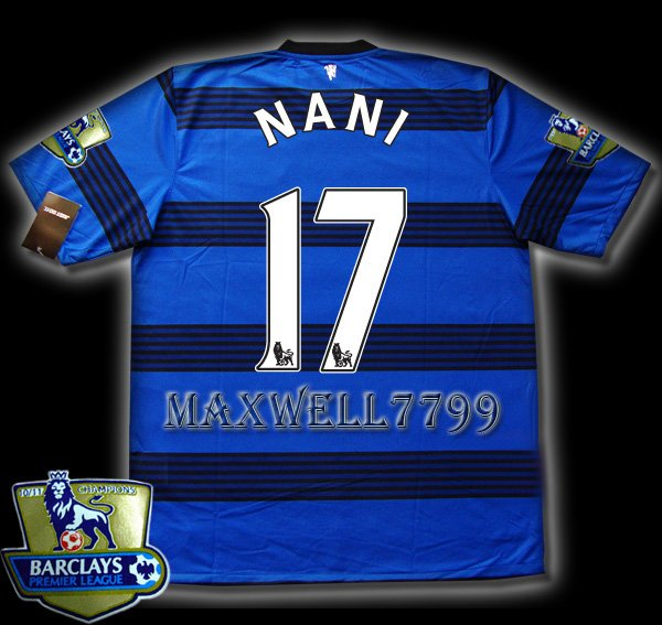 NEW 11-12 MANCHESTER UNITED AWAY NANI 17 CHAMP PREMIER PATCH SOCCER SHIRT JERSEY