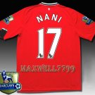 NEW 11-12 MANCHESTER UNITED HOME NANI 17 CHAMP PREMIER PATCH SOCCER SHIRT JERSEY