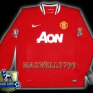 NEW 11-12 MANCHESTER UNITED HOME BLANK CHAMP PREMIER PATCH LS SOCCER SHIRT JERSEY