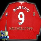 NEW 11-12 MANCHESTER UNITED HOME BERBATOV 9 CHAMP PREMIER PATCH LS SOCCER SHIRT JERSEY