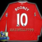 NEW 11-12 MANCHESTER UNITED HOME ROONEY 10 CHAMP PREMIER PATCH LS SOCCER SHIRT JERSEY