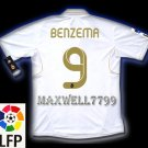 NEW 11-12 REAL MADRID HOME BENZEMA 9 LFP PATCH SOCCER SHIRT JERSEY