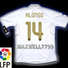 NEW 11-12 REAL MADRID HOME ALONSO 14 LFP PATCH SOCCER SHIRT JERSEY