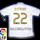 NEW 11-12 REAL MADRID HOME DI MARIA 22 LFP PATCH SOCCER SHIRT JERSEY