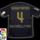 NEW 11-12 REAL MADRID AWAY SERGIO RAMOS 4 LFP PATCH SOCCER SHIRT JERSEY