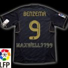 NEW 11-12 REAL MADRID AWAY BENZEMA 9 LFP PATCH SOCCER SHIRT JERSEY