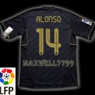 NEW 11-12 REAL MADRID AWAY ALONSO 14 LFP PATCH SOCCER SHIRT JERSEY