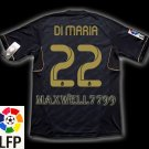NEW 11-12 REAL MADRID AWAY DI MARIA 22 LFP PATCH SOCCER SHIRT JERSEY