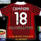 NEW 11-12 AC MILAN HOME CAMPIONI 18 CALCIO+TROPHY 7 FULL ALL PATCH SOCCER SHIRT JERSEY