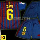 11-12 BARCELONA HOME XAVI 6 LFP+TV3 PATCH KITS KIDS SHORTS JERSEY # S