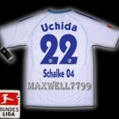 NEW 11-12 SCHALKE 04 AWAY UCHIDA 22 BUNDES LIGA PATCH SOCCER SHIRT JERSEY