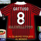 NEW 11-12 AC MILAN HOME GATTUSO 8 CALCIO+TROPHY 7 FULL ALL PATCH SOCCER SHIRT JERSEY