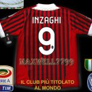 NEW 11-12 AC MILAN HOME INZAGHI 9 CALCIO+TROPHY 7 FULL ALL PATCH SOCCER SHIRT JERSEY