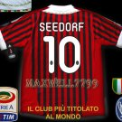 NEW 11-12 AC MILAN HOME SEEDORF 10 CALCIO+TROPHY 7 FULL ALL PATCH SOCCER SHIRT JERSEY
