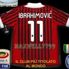 NEW 11-12 AC MILAN HOME IBRAHIMOVIC' 11 CALCIO+TROPHY 7 FULL ALL PATCH SOCCER SHIRT JERSEY
