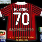 NEW 11-12 AC MILAN HOME ROBINHO 70 CALCIO+TROPHY 7 FULL ALL PATCH SOCCER SHIRT JERSEY