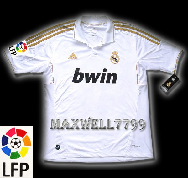 NEW 11-12 REAL MADRID HOME BLANK LFP PATCH SOCCER SHIRT JERSEY