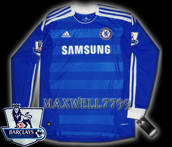 NEW 11-12 CHELSEA HOME BLANK PREMIER PATCH SOCCER SHIRT LS JERSEY