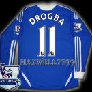 NEW 11-12 CHELSEA HOME DROGBA 11 PREMIER PATCH SOCCER SHIRT LS JERSEY