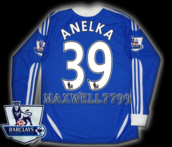 NEW 11-12 CHELSEA HOME ANELKA 39 PREMIER PATCH SOCCER SHIRT LS JERSEY