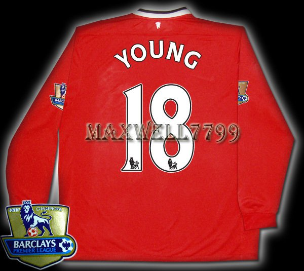 NEW 11-12 MANCHESTER UNITED HOME YOUNG 18 CHAMP PREMIER PATCH LS SOCCER SHIRT JERSEY