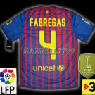 NEW 11-12 BARCELONA HOME FABREGAS 4 LFP+TV3 PATCH SOCCER SHIRT JERSEY