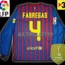 NEW 11-12 BARCELONA HOME FABREGAS 4 LFP+TV3 PATCH LS SOCCER SHIRT JERSEY