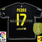 NEW 11-12 BARCELONA AWAY PEDRO 17 LFP+TV3 PATCH SOCCER SHIRT JERSEY
