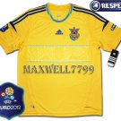 FINAL EURO 2012 UKRAINE HOME BLANK EURO2012 RESPECT PATCHES SHIRT JERSEY