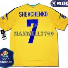 FINAL EURO 2012 UKRAINE HOME SHEVCHENKO 7 EURO2012 RESPECT PATCHES SHIRT JERSEY