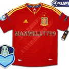 FINAL EURO 2012 SPAIN HOME BLANK CHAMP EURO2008 RESPECT PATCHES SHIRT JERSEY