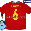 FINAL EURO 2012 SPAIN HOME A.INIESTA 6 CHAMP EURO2008 RESPECT PATCHES SHIRT JERSEY
