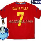 FINAL EURO 2012 SPAIN HOME DAVID VILLA 7 CHAMP EURO2008 RESPECT PATCHES SHIRT JERSEY