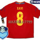 FINAL EURO 2012 SPAIN HOME XAVI 8 CHAMP EURO2008 RESPECT PATCHES SHIRT JERSEY
