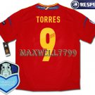 FINAL EURO 2012 SPAIN HOME TORRES 9 CHAMP EURO2008 RESPECT PATCHES SHIRT JERSEY