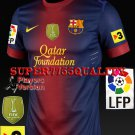 PLAYER VERSION 12-13 BARCELONA HOME BLANK LFP+TV3+FIFA PATCH SOCCER SHIRT JERSEY