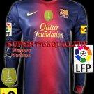 PLAYER VERSION 12-13 BARCELONA HOME BLANK LFP+TV3+FIFA PATCH SOCCER LS SHIRT JERSEY