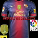 NEW 12-13 BARCELONA HOME BLANK LFP+TV3 PATCH SOCCER SHIRT JERSEY