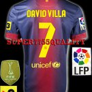 NEW 12-13 BARCELONA HOME DAVID VILLA 7 LFP+TV3 PATCH SOCCER SHIRT JERSEY