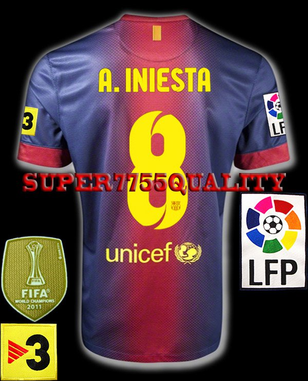 NEW 12-13 BARCELONA HOME A.INIESTA 8 LFP+TV3 PATCH SOCCER SHIRT JERSEY