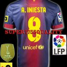 NEW 12-13 BARCELONA HOME A.INIESTA 8 LFP+TV3 PATCH SOCCER SHIRT JERSEY
