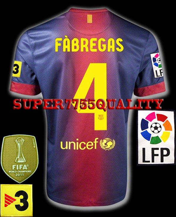NEW 12-13 BARCELONA HOME FABREGAS 4 LFP+TV3 PATCH SOCCER SHIRT JERSEY