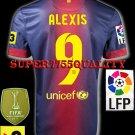 NEW 12-13 BARCELONA HOME ALEXIS 9 LFP+TV3 PATCH SOCCER SHIRT JERSEY