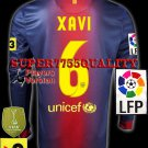 PLAYER VERSION 12-13 BARCELONA HOME XAVI 6 LFP+TV3 PATCH LS SOCCER SHIRT JERSEY