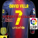 PLAYER VERSION 12-13 BARCELONA HOME DAVID VILLA 7 LFP+TV3 PATCH LS SOCCER SHIRT JERSEY
