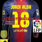 PLAYER VERSION 12-13 BARCELONA HOME JORDI ALBA 18 LFP+TV3 PATCH LS SOCCER SHIRT JERSEY