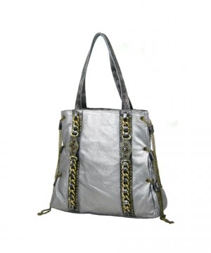 Ladies Designer Inspired Silver Handbag Purse