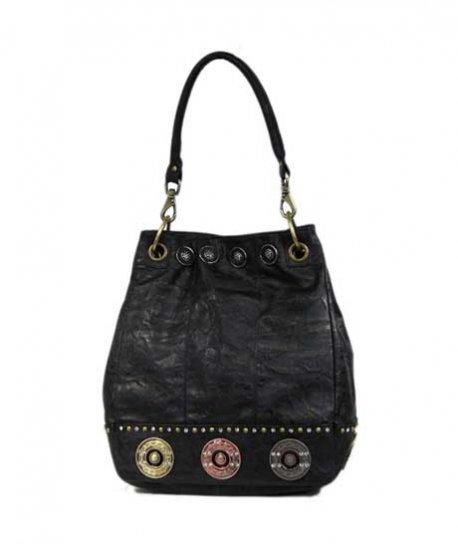 Ladies Designer Inspired Black Studded Handbag Purse
