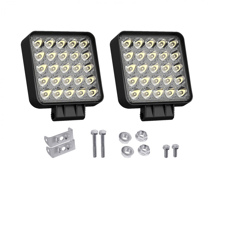 Pair of LED Work Lights for Truck 4inch Pod 75W 7200LM 12V 24V Flood Beam Square Cube Car Grille 4x4