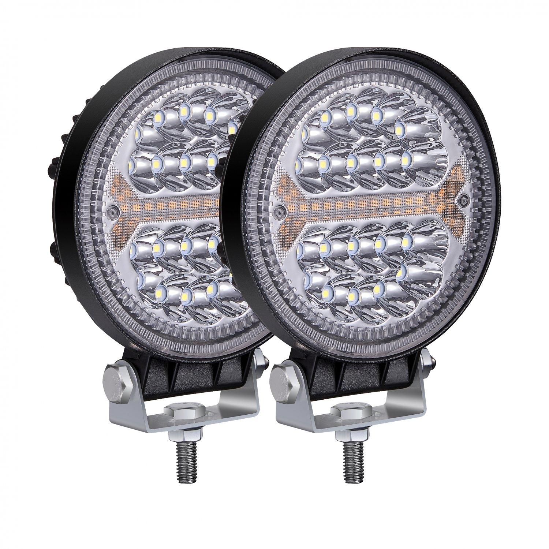 Offroad LED Fog Lights 4 inch 138W 12000LM 12V 24V Round LED Driving Light Amber DRL Warning Beam